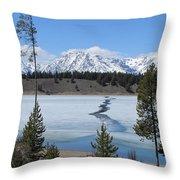 Cracked Ice On Jackson Lake Grand Teton Np Wyoming Throw Pillow