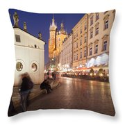 Cracow By Night In Poland Throw Pillow