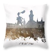 Cracow City Skyline Throw Pillow