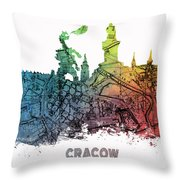 Cracow City Skyline Map Throw Pillow