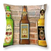 Craft Beer Collection On Brick Throw Pillow