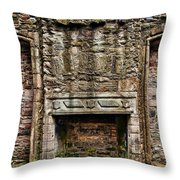 Craigsmillar Castle Fireplace Throw Pillow