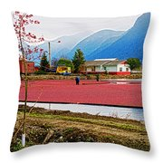 Cranberry Field Workers Throw Pillow