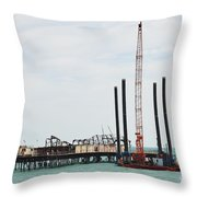 Crane Barge At Hastings Pier Throw Pillow