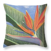 Crane Flower Paradise Throw Pillow
