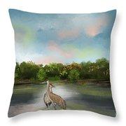 Crane Habitat Throw Pillow