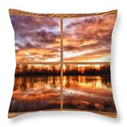 Crane Hollow Sunrise Barn Wood Picture Window Frame View Throw Pillow