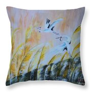 Crane On Reed Marshes Throw Pillow