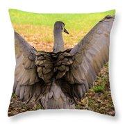 Crane Spreading Wings Throw Pillow