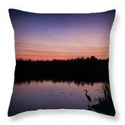Crane Under Wires At Sunset Throw Pillow