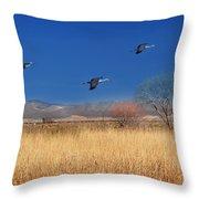 Cranes In Flight Throw Pillow