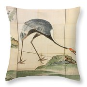 Cranes Pines And Bamboo Throw Pillow