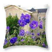 Cranesbill Blue Geranium Throw Pillow