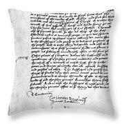 Cranmer Declaration, 1537 Throw Pillow
