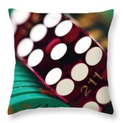 Craps At Caesars Throw Pillow by John Rizzuto