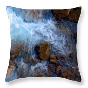 Crashing Falls On Rocks Below Throw Pillow