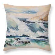 Crashing On The Rocks Throw Pillow
