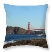 Crashing Waves And The Golden Gate Bridge Throw Pillow by Linda Woods