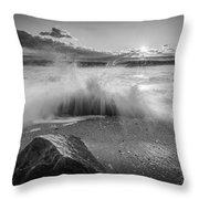 Crashing Waves Bw Throw Pillow