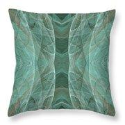 Crashing Waves Of Green 2 - Panorama - Abstract - Fractal Art Throw Pillow
