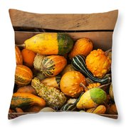 Crate Filled With Pumpkins And Gourts Throw Pillow