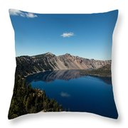 Crater Lake And Boat Throw Pillow