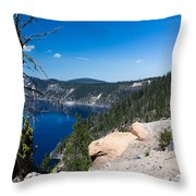 Crater Lake And Moss Covered Tree Throw Pillow