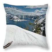 Crater Lake And Wizard Island In June Throw Pillow