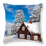 Crater Lake Home - Crater Lake Covered In Snow In The Winter. Throw Pillow