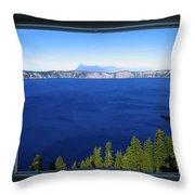 Crater Lake Through Our Window Throw Pillow