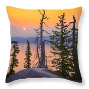 Crater Lake Trees Throw Pillow by Inge Johnsson