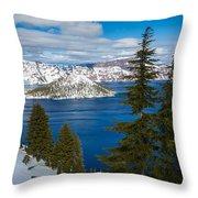 Crater Lake Winter Panorama Throw Pillow