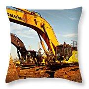 Crawler Excavator - Komatsu - Digger - Machinery Throw Pillow