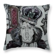 Crazy Carla Queen Of Charcoal Land Throw Pillow