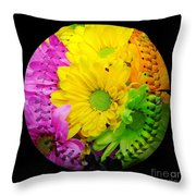 Crazy Daisies Baseball Square Throw Pillow