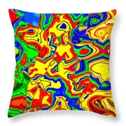 Crazy Day Abstract In Primary Colors  Throw Pillow