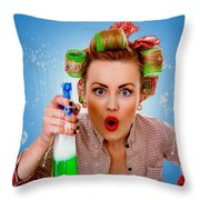 Crazy Girl Cleaning Throw Pillow