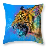 Crazy Tiger Throw Pillow by Olga Shvartsur