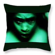 Crazy With Green Throw Pillow