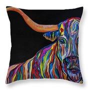 Crazy Woman Bull Throw Pillow