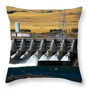 The Dalles Dam Throw Pillow