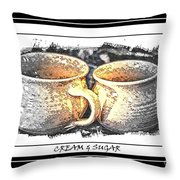 Cream And Sugar - Pottery Throw Pillow