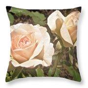 Creamy Roses Throw Pillow