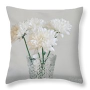 Creamy White Flowers In Tall Vase Throw Pillow by Lyn Randle