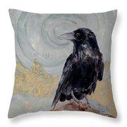 Creation - A Raven Throw Pillow