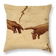 Creation Of Adam Hands A Study Coffee Painting Throw Pillow