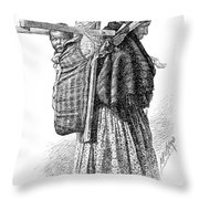 Cree Indian Squaw And Papoose Throw Pillow