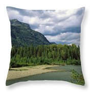 Creek Along Mountains, Mcdonald Creek Throw Pillow
