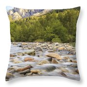 Creek And Castle Crags Throw Pillow