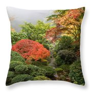 Creek At Japanese Garden In The Fall Throw Pillow